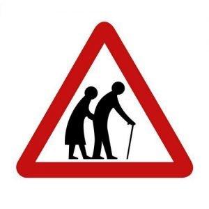 Street sign  ELDERLEY PEOPLE CROSSING ( against white background )
