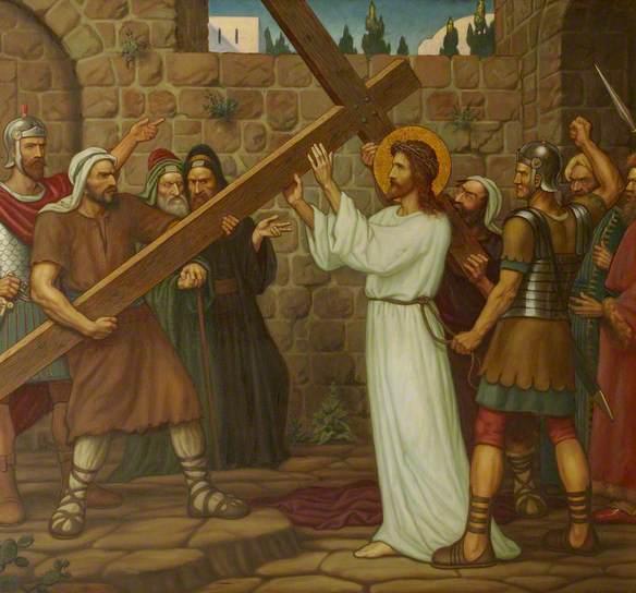 Jesus receives the cross